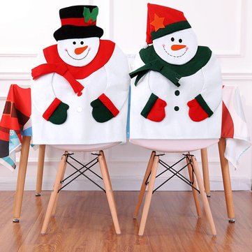Christmas Snowman Chair Back Cover, White