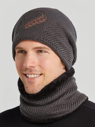 Men 2PCS Embroidered Plus Velvet Thick Scarf Knitted Beanie Hat
