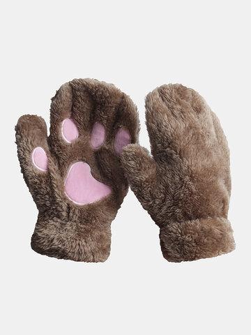 Cat Claw Gloves Half-finger Warm Plush Gloves