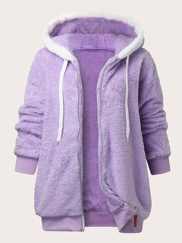 Fluffy Zip Front Casual Hoodie