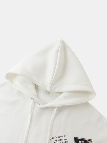 Letter Tag Print Pullover Hoodies
