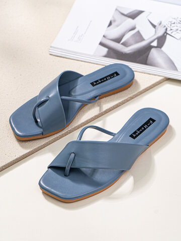 Fashion Square Toe Flip Flops Daily Beach Slippers