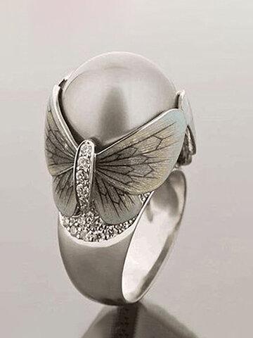 Butterfly Pearl Women Ring