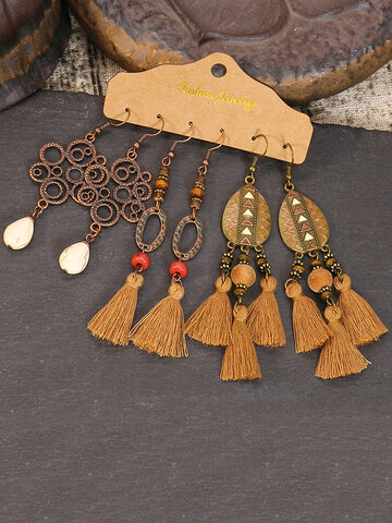 3 Pcs Drop-Shape Earrings Set