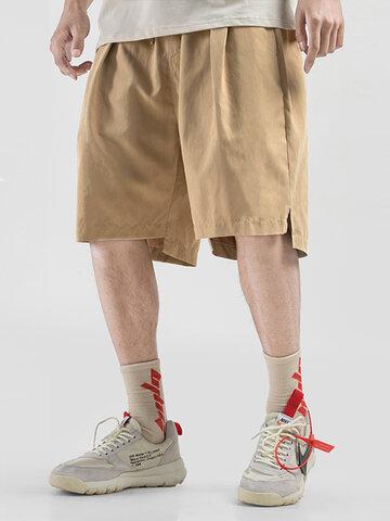 Solid Color Drawstring Split Shorts