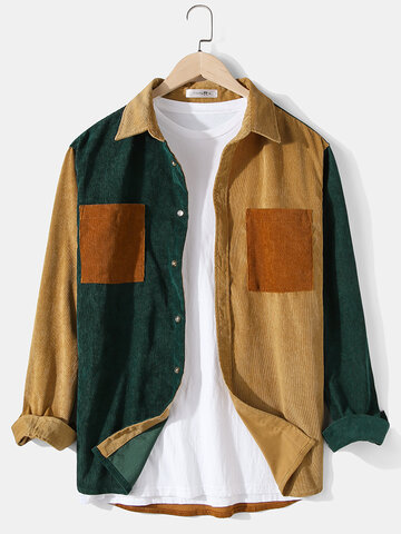 Corduroy Patchwork Color Block Shirts