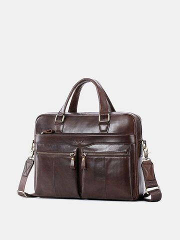 Men Genuine Leather 14 Inch Laptop Briefcases