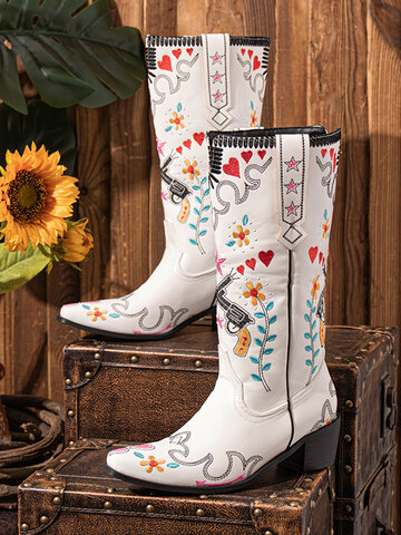 Floral Embroidered White Cowboy Boots
