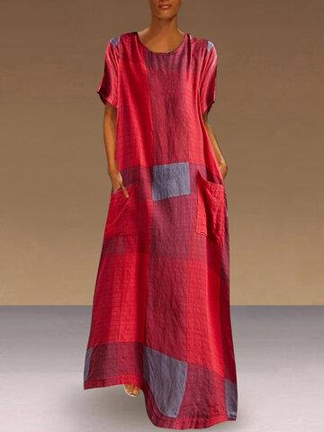 newchic / Print Plaid A-line Dress