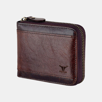 Men Genuine Leather Multi-card Slots Retro Coin Wallet SIM Card Foldable Card Holder Wallet