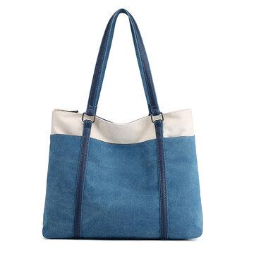 Women Canvas Tote Bag Large Capacity Patchwork Shoulder Bag