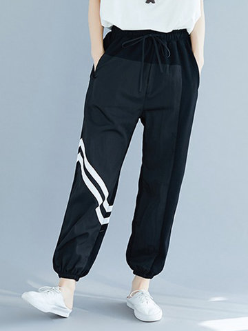 Casual Diagonal Striped Pants