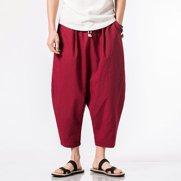 Mens Cotton Linen Regular Drawstring Solid Color Pants