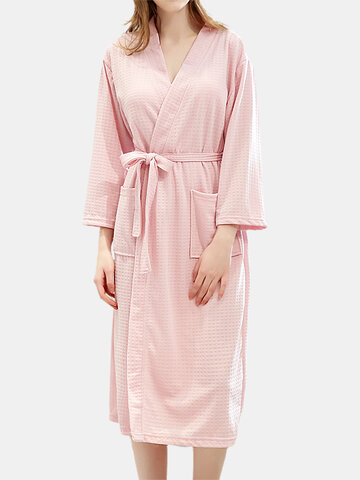Pure Color Waffle V-Neck Robes