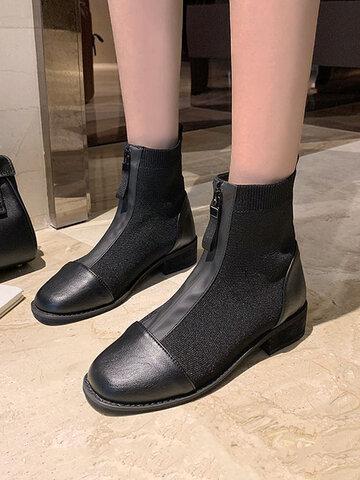 Socken mit eckiger Zehenpartie und Reißverschluss vorne Stiefel
