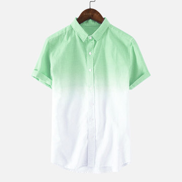 Gradient Color Summer Short Sleeve Casual Shirt