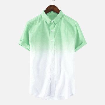 Farbverlauf Sommer Kurzarm Freizeithemd