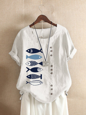 Button Cartoon Fish Print T-shirt