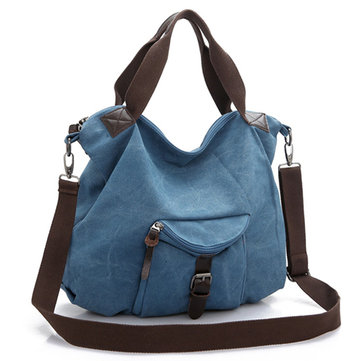 Women Multi Pocket Canvas Bags Casual Simple Shoulder Bags Crossbody Bags