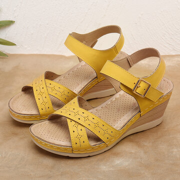 Hollow Soft Sole Buckle Wedge Sandals