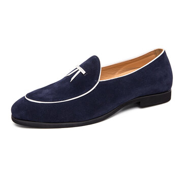 Men Suede Splicing Slip On Casual Dress Shoes