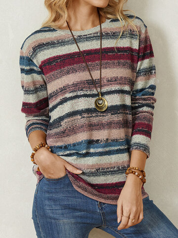 Casual Striped Print Blouse