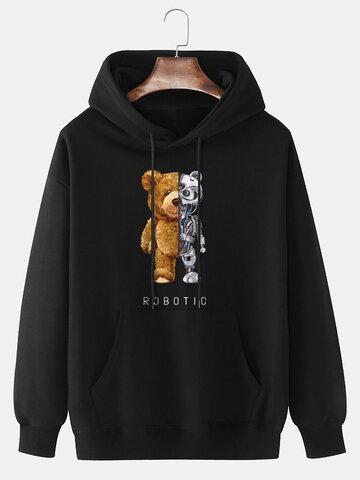 Mechanical Bear Print Cotton Hoodie