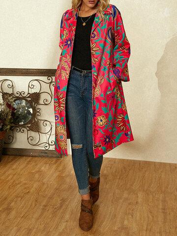 معطف طويل الأكمام بطبعة زهور