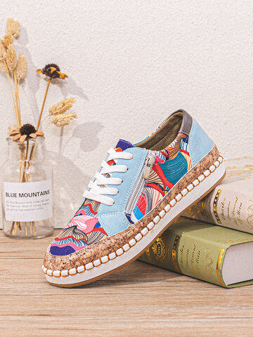 LOSTISY Casual Colorful  Pattern Flat Loafers