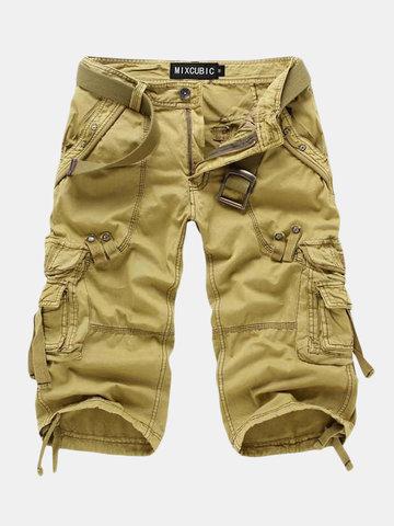 Shorts de carga de algodão multi bolso ao ar livre