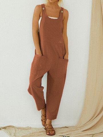Solid Color Straps Jumpsuit