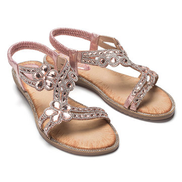 Soft Bling Rhinestone Flowers Sandals
