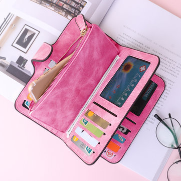 Woman Four Fold Wallet Purse 14 Card Slot 5.5 Inch Phone Bag