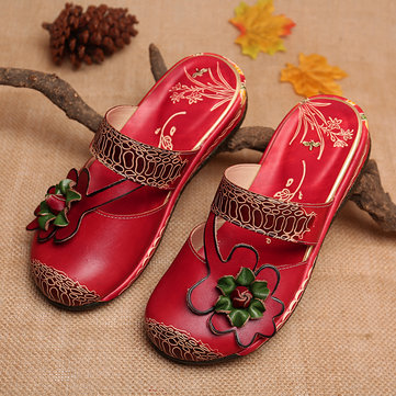 Comfy Floral Leather Sandals