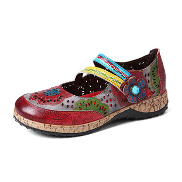 Floral Leather Splicing Flat Shoes