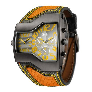 Sport Quartz Wristwatch Two Movements Big Clock Leather Strap Fashion Watch for Men