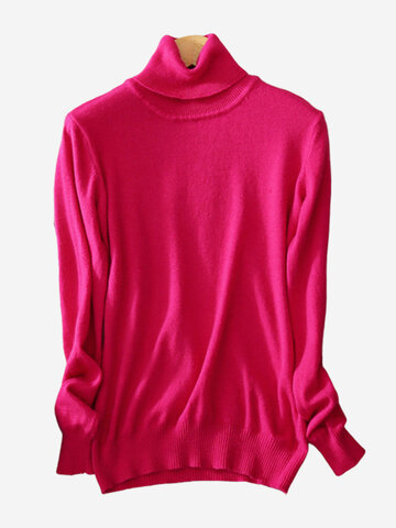 Cuello de cuello alto Pure Color Bottoming Sweaters