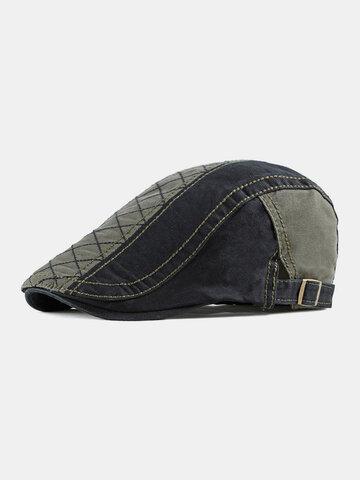 Men Color-Block Argyle Flat Cap