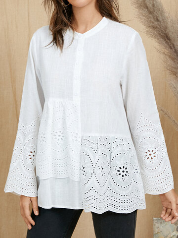 Embroidery Button Solid Blouse