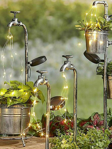 1 PC Solar Metal Watering Can Stake With Lights For Garden Art Light  Water Faucet Planter Lawn Art Outdoor Decor Home