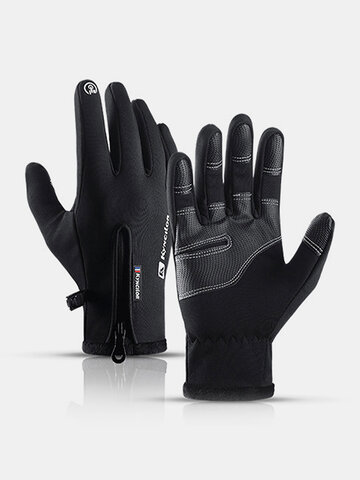 Unisex Fleece Screen Touchable Waterproof Winter Outdoor Keep Warm Waterproof Cycling Riding Full-finger Gloves