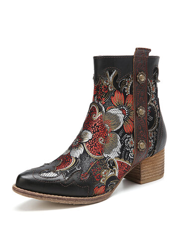 SOCOFY Retro Flowers Pattern Stitching Leether Pointed Toe Chunky Heel Short Boots
