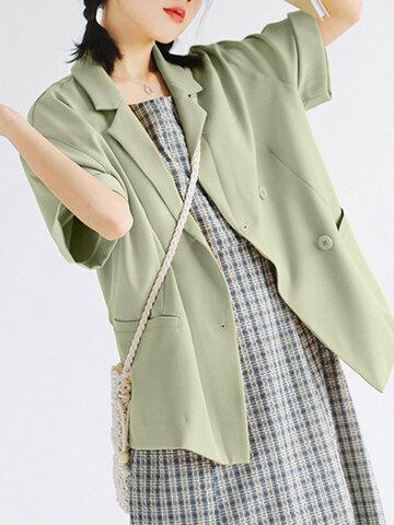 Solid Color Short Sleeve Blazer