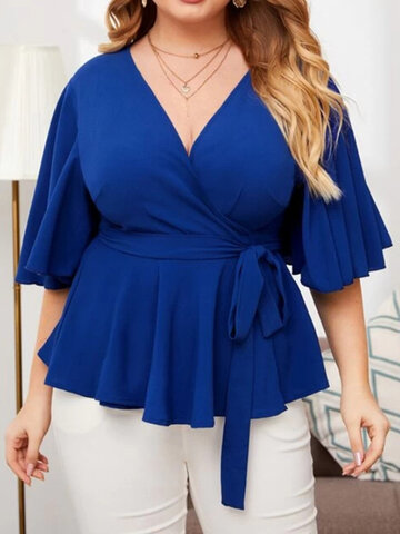 Solid Color Ruffle Blouse