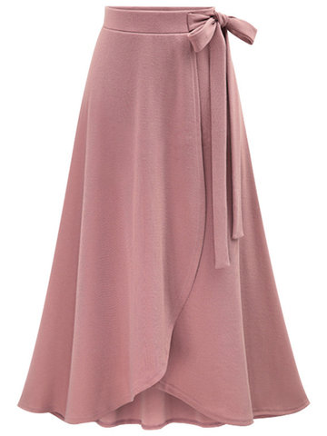 Casual Pure Color Lacing Split Skirts