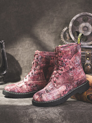 Retro Printing Pattern Comfy boots