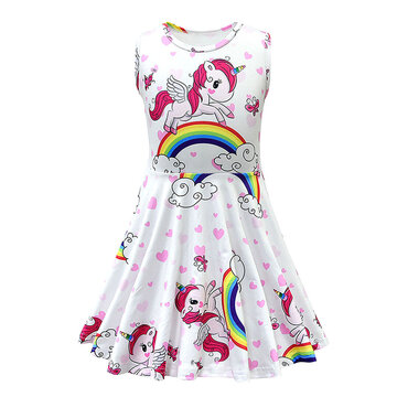 Rainbow Unicorn Girls Dress For 3-11Y