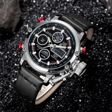 Quartz Sport Men Watches Digital Dual Display Watch Leather LED Waterproof Wristwatch Man