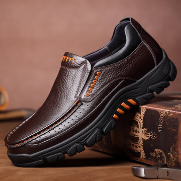 Men Waterproof Genuine Cow Leather Shoes