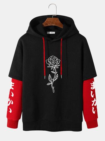 Rose Japanese Sleeve Print Hoodies